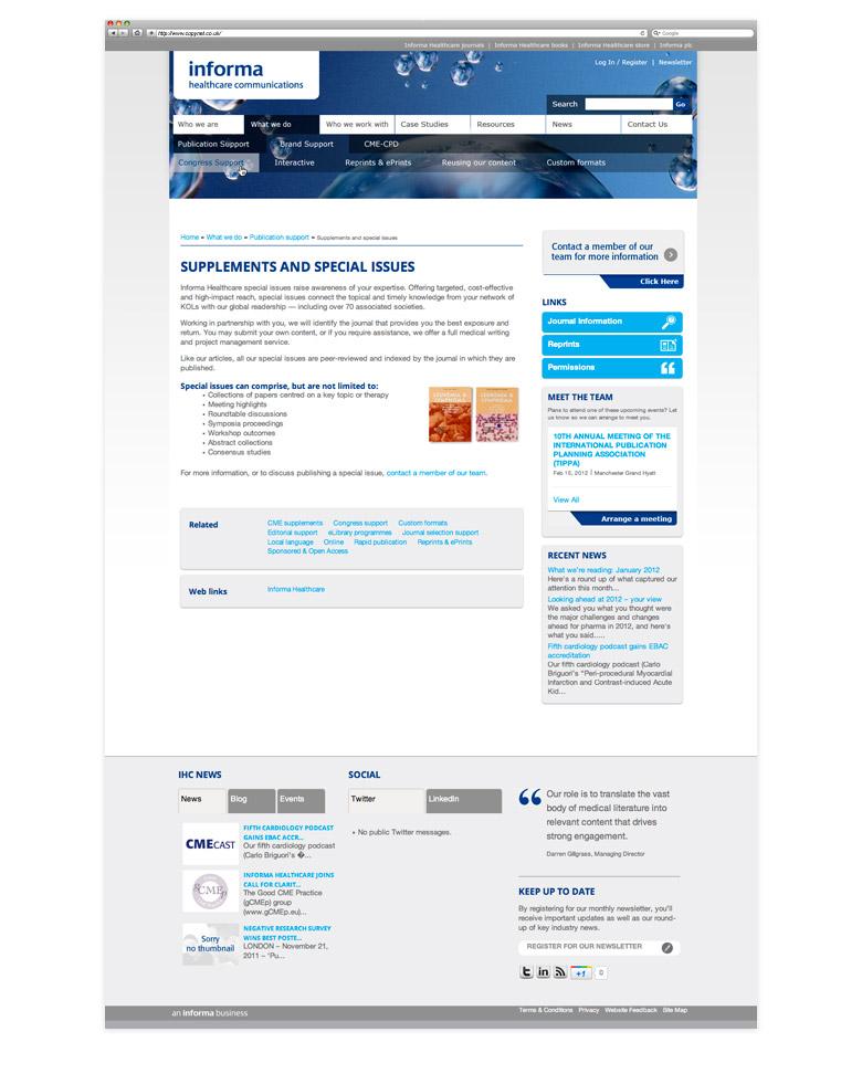 informa healthcare communications wordpress cms web design
