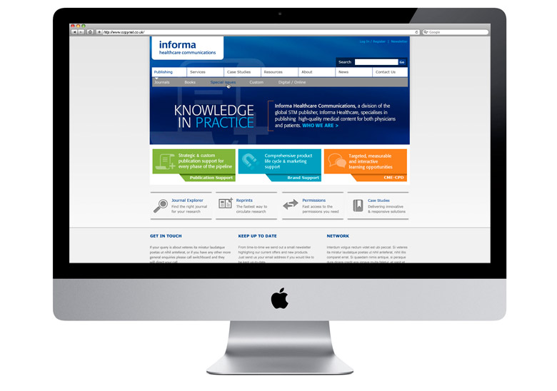 informa healthcare communications wordpress cms web design