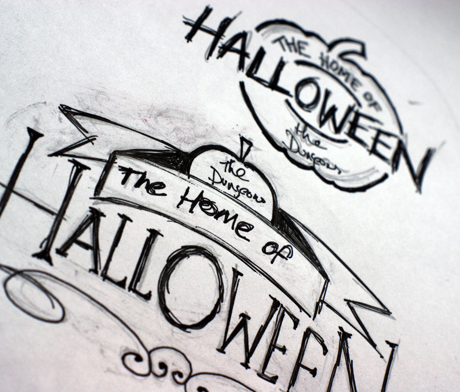 we decided to use paint writing as the main font to maintain brand recognition the finishing touch to the logo once completed was to create eight versions - Halloween Writing Font