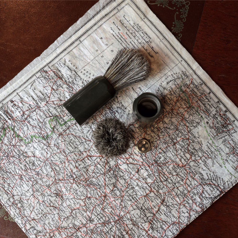 ww1 hidden map shaving brush