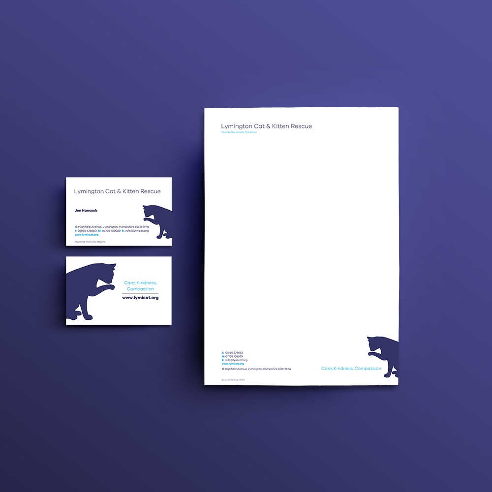 Lymington Cat & Kitten Rescue Letterhead and Business cards